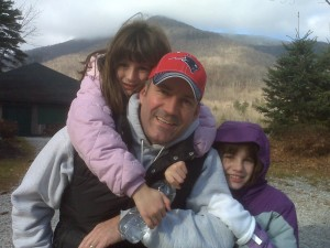 Me and the girls - Mt. Equinox in the backdrop.